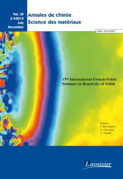 Couverture de l'ouvrage Annales de chimie Sciences des matériaux - Vol. 39 N° 3-4/2015 July/December