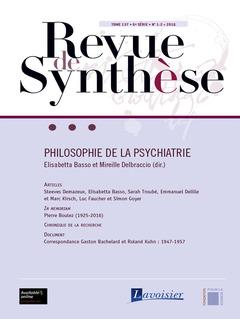 Couverture de l'ouvrage Revue de Synthèse Tome 137 - 6e Série - N° 1-2 -2016