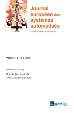 Couverture de l'ouvrage Journal européen des systèmes automatisés - Volume 49 - n° 3/Mai-Juin 2016