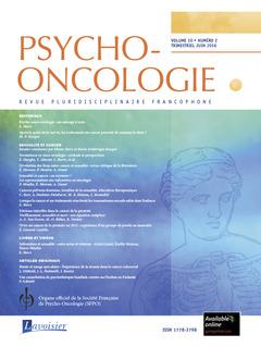 Couverture de l'ouvrage Psycho-Oncologie Vol. 10 N° 2 - Juin 2016