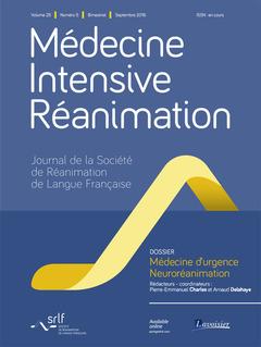 Couverture de l'ouvrage Médecine Intensive Réanimation Vol. 25 N°5 - Septembre 2016