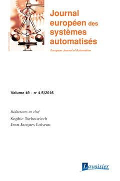 Couverture de l'ouvrage Journal européen des systèmes automatisés Volume 49 N° 4-5/Juillet-Octobre 2016