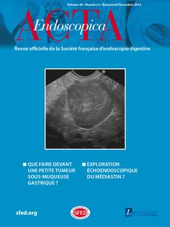 Couverture de l'ouvrage Acta Endoscopica Vol. 46 N° 6 - Décembre 2016