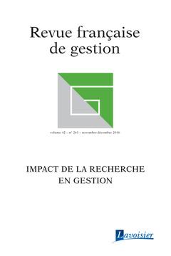 Couverture de l'ouvrage Revue française de gestion Volume 42 N° 261/Novembre-Décembre 2016