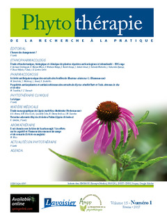 Couverture de l'ouvrage Phytothérapie. Vol. 15 N°1 - Février 2017
