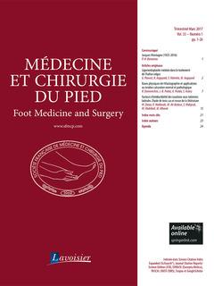 Couverture de l'ouvrage Médecine et chirurgie du pied Vol. 33 N° 1 - Mars 2017