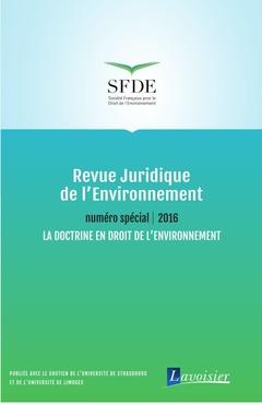 Couverture de l'ouvrage Revue Juridique de l'Environnement - Numéro spécial 2016