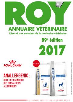 Couverture de l'ouvrage Annuaire vétérinaire Roy 2017 (89° Éd.)