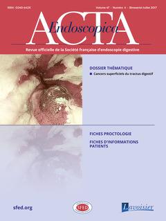 Couverture de l'ouvrage Acta Endoscopica Vol. 47 N° 4 - Juillet  2017