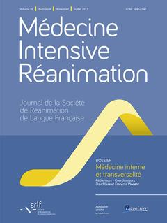 Couverture de l'ouvrage Médecine Intensive Réanimation Vol. 26 N° 4 - Juillet 2017