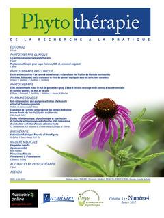 Couverture de l'ouvrage Phytothérapie. Vol. 15 N° 4 - Août 2017