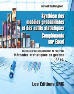 Couverture de l'ouvrage Synthèse des modèles probabilistes et des outils statistiques. Compléments sur Excel