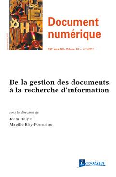 Couverture de l'ouvrage Document Numérique Volume 20 N° 1/Janvier-Avril 2017