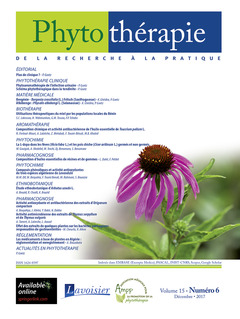 Couverture de l'ouvrage Phytothérapie. Vol. 15 N° 6 - Décembre 2017