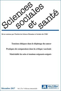 Couverture de l'ouvrage Sciences sociales et santé - vol. 35 - n°4 - décembre 2017