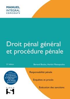 Couverture de l'ouvrage Droit pénal général et procédure pénale