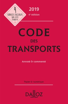 Couverture de l'ouvrage Code des transports 2019, annoté et commenté