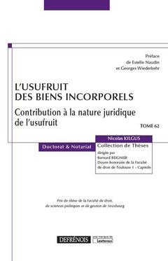 Couverture de l'ouvrage L'usufruit des biens incorporels