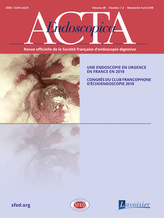 Couverture de l'ouvrage Acta Endoscopica Vol. 48 N° 1-2 - Avril 2018