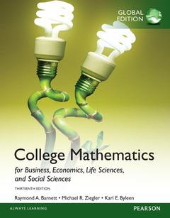 Couverture de l'ouvrage College Mathematics for Business, Economics, Life Sciences and Social Sciences, Global Edition