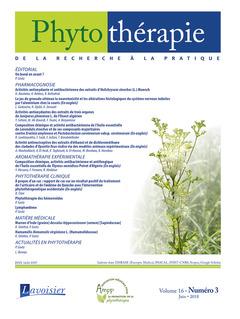 Couverture de l'ouvrage Phytothérapie. Vol. 16 N° 3 - Juin 2018
