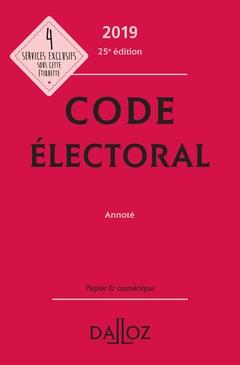 Couverture de l'ouvrage Code électoral 2019, annoté