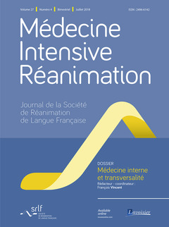 Cover of the book Médecine Intensive Réanimation Vol. 27 N° 4 - Juillet 2018