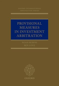 Couverture de l'ouvrage Provisional Measures in Investment Arbitration