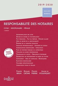 Couverture de l'ouvrage Responsabilité des notaires 2019/2020