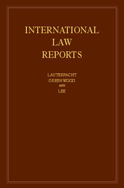 Couverture de l'ouvrage International Law Reports: Volume 165
