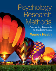 Couverture de l'ouvrage Psychology Research Methods