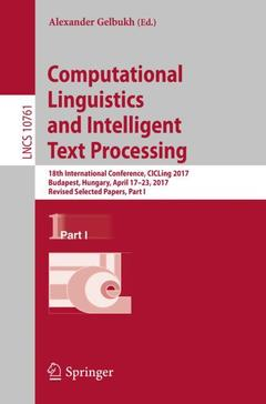 Couverture de l'ouvrage Computational Linguistics and Intelligent Text Processing