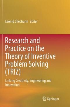 Couverture de l'ouvrage Research and Practice on the Theory of Inventive Problem Solving (TRIZ)