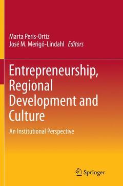 Couverture de l'ouvrage Entrepreneurship, Regional Development and Culture