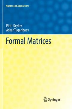 Couverture de l'ouvrage Formal Matrices