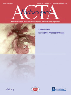 Couverture de l'ouvrage Acta Endoscopica Vol. 48 N° 3-4 - Novembre 2018