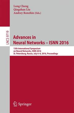 Couverture de l'ouvrage Advances in Neural Networks - ISNN 2016