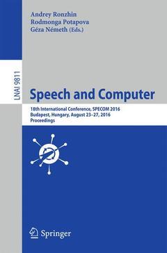 Couverture de l'ouvrage Speech and Computer