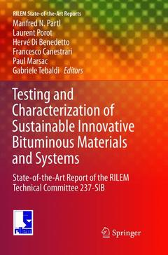 Cover of the book Testing and Characterization of Sustainable Innovative Bituminous Materials and Systems