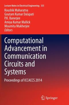 Couverture de l'ouvrage Computational Advancement in Communication Circuits and Systems