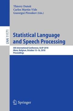 Couverture de l'ouvrage Statistical Language and Speech Processing