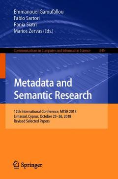 Couverture de l'ouvrage Metadata and Semantic Research