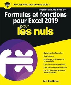Couverture de l'ouvrage Formules et fonctions pour excel 2019 pour les nuls