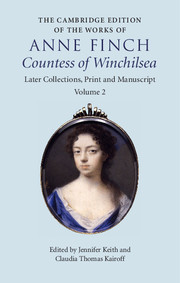 Couverture de l'ouvrage The Cambridge Edition of the Works of Anne Finch, Countess of Winchilsea
