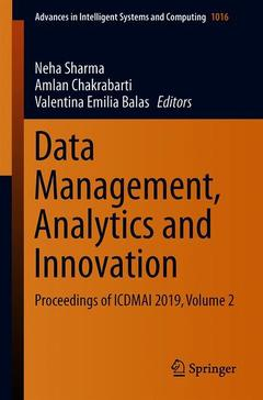 Couverture de l'ouvrage Data Management, Analytics and Innovation