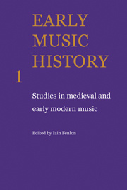 Couverture de l'ouvrage Early music history: studies in medieval and early modern music, volume 1