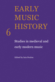 Couverture de l'ouvrage Early music history: studies in medieval and early modern music, volume 6