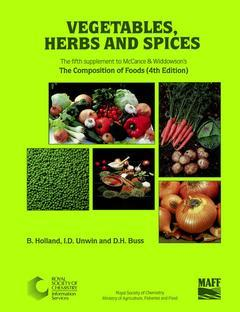 Cover of the book Vegetables herbs & spices 5th supplement to Mc Cance and Widdowson's Composition of foods (5th edition / Paperback)