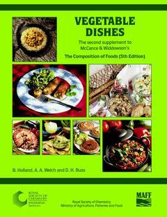 Cover of the book Vegetable dishes second supplement to the fifth edition of the composition of foods (MCCance et Widdowson) paper (reprint)
