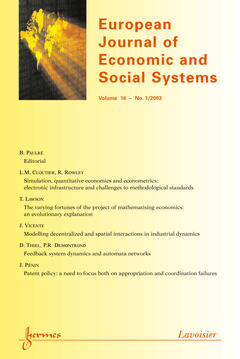 Couverture de l'ouvrage European Journal of Economic and Social Systems Vol.16 N° 1/2003
